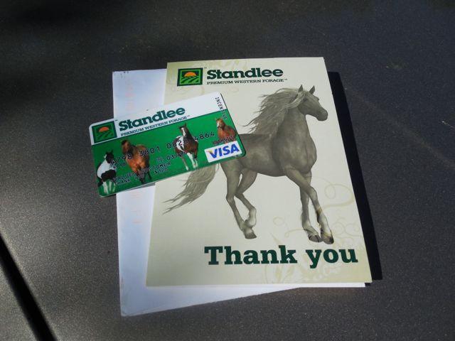 My very generous Standlee Gift Certificate!
