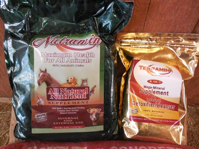 These are my two bags of Bentonite Clay products.  One for horses and one for me.